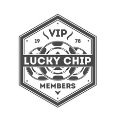 Lucky chip vintage isolated label vector