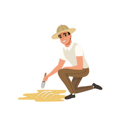 Man sitting on one knee and sweeping dirt from vector