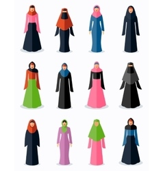 Muslim woman flat icons vector