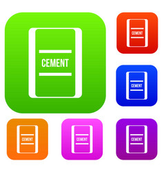 One bag of cement set collection vector