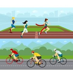 People sport horizontal banner set vector