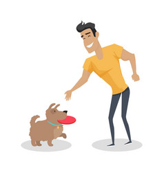 playing with pet in flat design vector image vector image