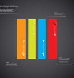 Rectangle template consists of four color parts on vector