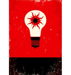 Red and black poster with bulb vector image vector image