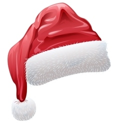 Red santa hat with fluffy white fur vector