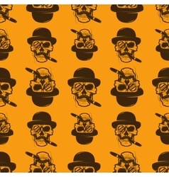Seamless pattern from Skull with cigar vector image