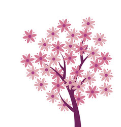 simple naive pink color sakura tree blossom vector image vector image