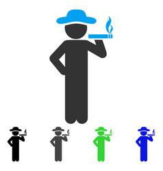 Smoking gentleman flat icon vector