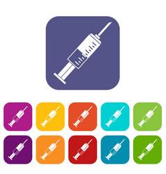 Syringe icons set flat vector