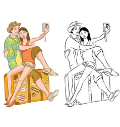 Tourist Couple Taking Their Self Portrait vector image vector image