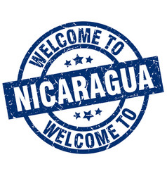 welcome to nicaragua blue stamp vector image vector image