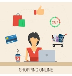 Woman with laptop shopping online vector image vector image