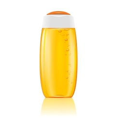 Yellow shampoo bottle with bubbles vector image