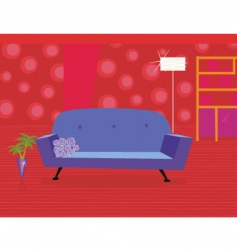 Living room in retro style vector