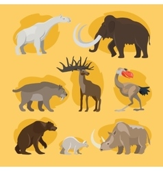 Prehistoric animals cartoon icons vector