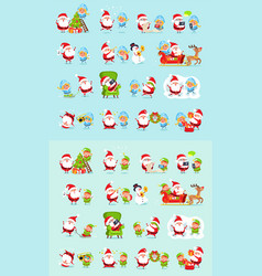 Santa reindeer snow maiden ice princess elf set vector