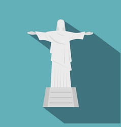 Christ the redeemer statue icon flat style vector