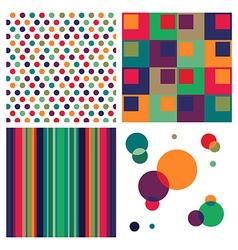 Retro colorful pattern combo vector