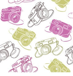 Photo cameras seamless pattern vector