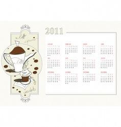 template for calendar 2011 vector image