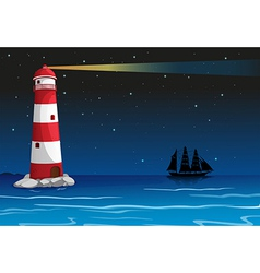 A lighthouse in the middle of the ocean vector