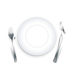 Empty plate with broken cutlery vector