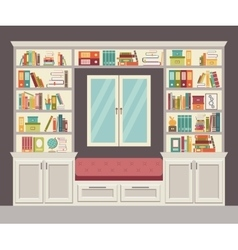 The window seat and wall of books for the home vector