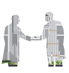 Double exposure handshake businessman on city vector