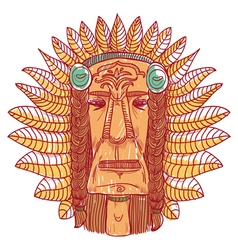 Tattoo with indian face - vector