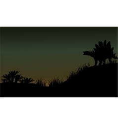 Silhouette of stegosaurus in fields scenery vector