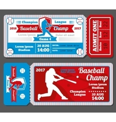 Vintage baseball sports tickets set vector image