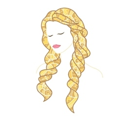 Beautiful woman with closed eyes and long blonde vector