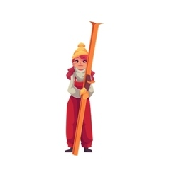 Adult red-haired beautiful girl standing with ski vector image vector image