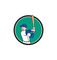 Baseball player batting stance circle cartoon vector