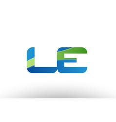 Blue green le l e alphabet letter logo vector