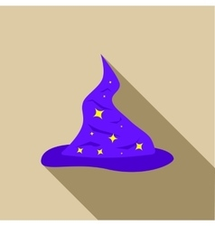 Blue wizards hat with silver stars icon flat style vector
