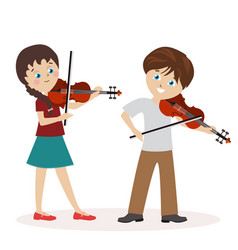 boy and a girl are playing the violin music vector image vector image