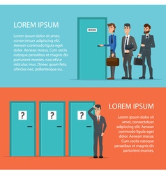 Businessman is confusing about tree doors cartoon vector