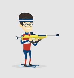cheerful biathlon runner aiming at the target vector image