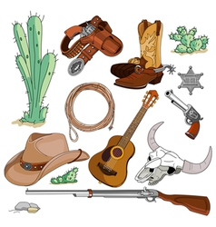 Cowboy objects set vector image vector image