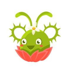 Cute fantastic green succulent plant character vector