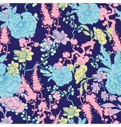 Dark blue yellow pink kimono floral vector