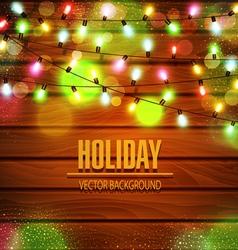 Festive background of luminous garlands of lights vector
