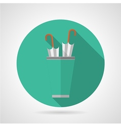 Flat color umbrella stand icon vector image