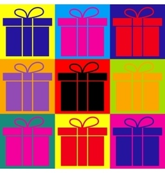 Gift box sign vector image vector image