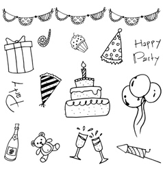 Hand draw doodle party vector image vector image