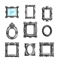 hand drawn set with picture frames vector image