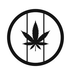 Hemp leaf on round rasta flag icon vector