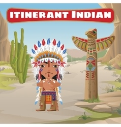 Itinerant indian totem and cactus vector