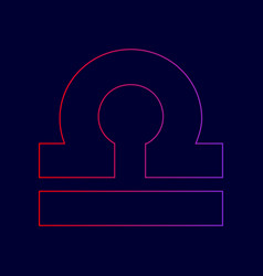 Libra sign line icon with vector